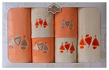6 Piezas Caja de Tierra Bordado Toalla, algodón Peinado, Crema/Naranja, 62 x 10 x 39 cm: Amazon.es: Hogar
