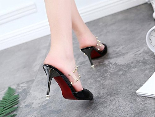 Dress Slides Mule Women Backless Toe Pointed Slippers 2 Heels Black Buckle LYLIFE for Sandals Kitten qdwxYqP