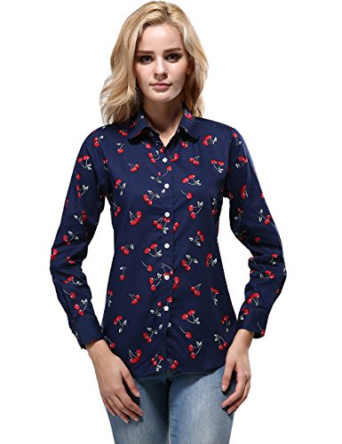 (XI PENG Women's Tops Cherry Print Blouse Long Sleeve Button Down Shirts (Medium, Cherry-Navy Blue))