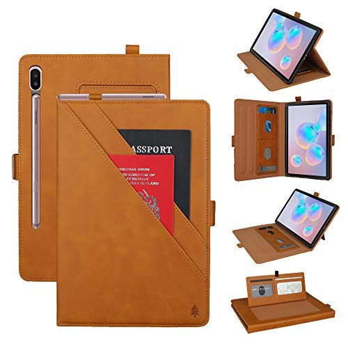 Price comparison product image Galaxy Tab S6 Tablet Case, TechCode Premium PU Leather Protective Folio Stand Auto Sleep / Wake Cover with Card Slots / Pen Holder Book Case for Samsung Galaxy Tab S6 10.5 Inch SM-T860 / T865 / T867(Yellow)