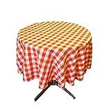 LA Linen Poly Checkered Round Tablecloth, 51-Inch, Orange/White