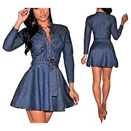 Momtuesdays2 Women's Long Sleeve A-line High-Low Denim Casual Dress Cowboy Jumpsuit