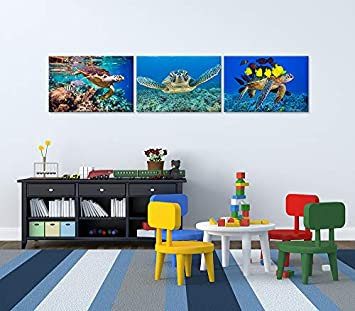 Hello Artwork Large Animal Canvas Wall Art Decor 3 Pieces Blue Sea Turtle Swimming Underwater Modern Seaview Animal Giclee Wall Artwork for Home Decor Stretched and Framed Ready To Hang 24x36inchx3pcs