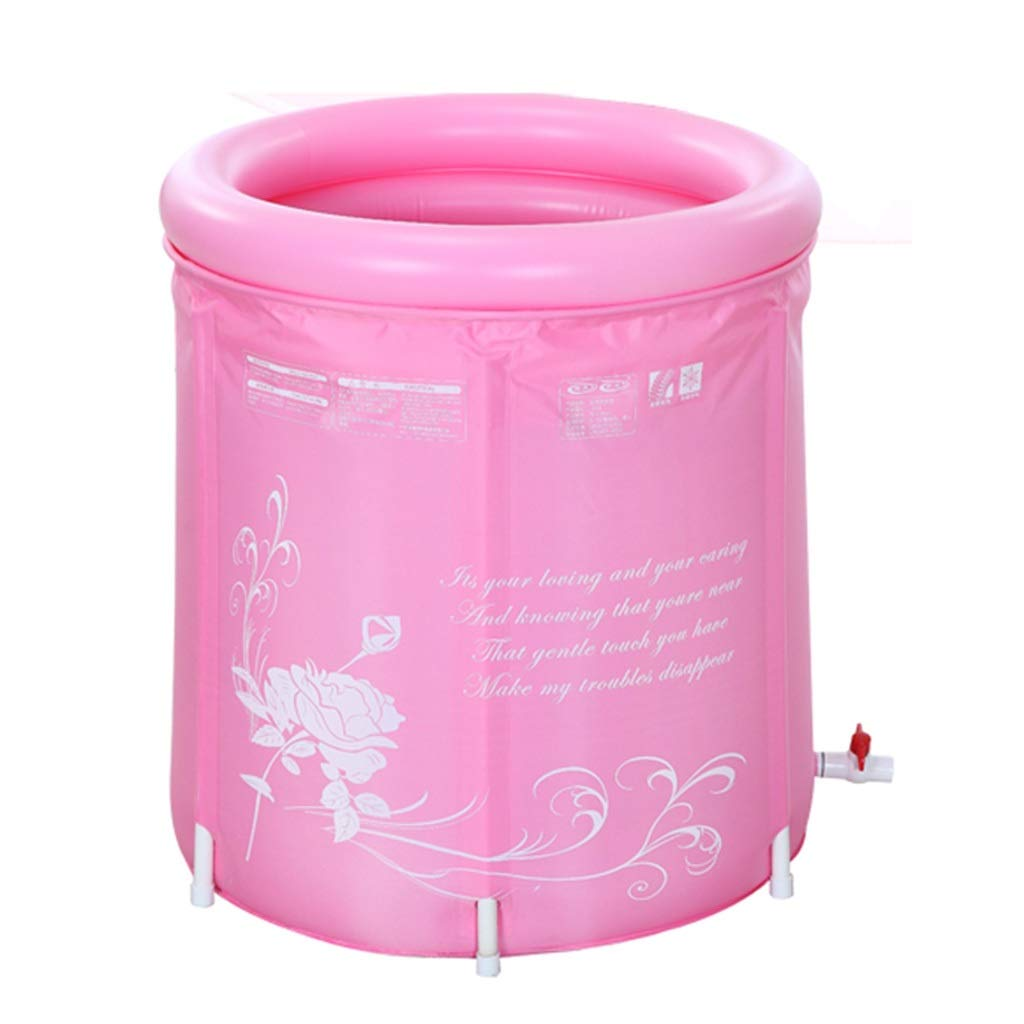 Pink Large SESO UK-Tub Folding Bathtub Portable Spa Plastic Home Adult Large bath barrel, summer Quality Comfortable Massage kid's Bath Tub with cover (color   bluee, Size   XL)
