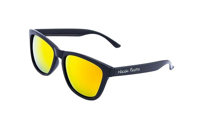 Nación Pirata - Gafas de Sol Policarbonato- Polarizadas, Efecto Espejo naranja - Hombre y