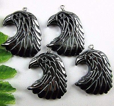 FidgetFidget Pendant Bead Beautiful Unique Black Hematite Carved Eagle Head VK1830 4PCS