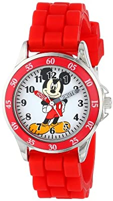 Disney Kids' MK1239 Time Teacher Mickey Mouse Watch with Red Rubber Strap from Accutime Watch Corp.