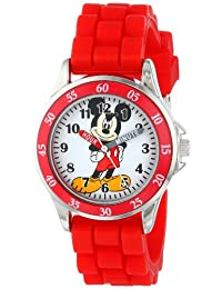 Disney Mickey Mouse MK1239 Time Teacher Reloj con correa roja de goma, niños