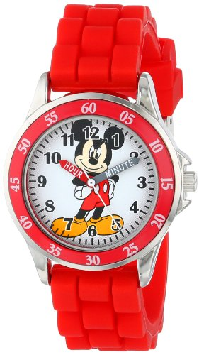 (Disney Kids' MK1239 Time Teacher Mickey Mouse Watch with Red Rubber Strap)