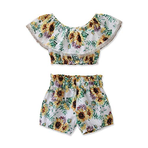 Baby Girls' Sunflower Print Ruffles Off-Shoulder Tops with Shorts Dress Skirts Headband Sets Outfits Clothes (2T, White-4)