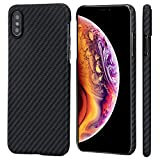 PITAKA Slim Case Compatible with iPhone Xs 5.8', MagCase Aramid Fiber [Real Body Armor Material] Phone Case,Minimalist Strongest Durable Snugly Fit Snap-on Case - Black/Grey(Twill)