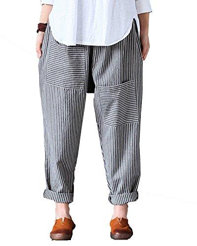 (Aeneontrue Women's Linen Striped Casual Pants Wide Leg Elastic Waist with Unique Pockets Trousers Gray Large)