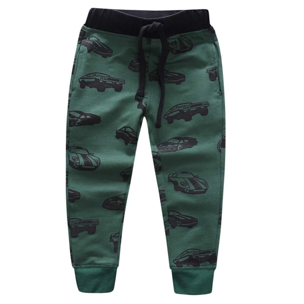 ACESTAR Boys Pants Active Long Cotton Cartoon Car Printed Trousers for Children Spring Autumn,Size 4T-7T