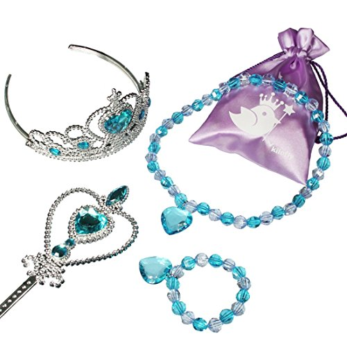 [kilofly Princess Party Favor Value Pack, Tiara Wand Necklace Bracelet Set, Blue] (Difference Between Fashion Jewellery And Costume Jewellery)