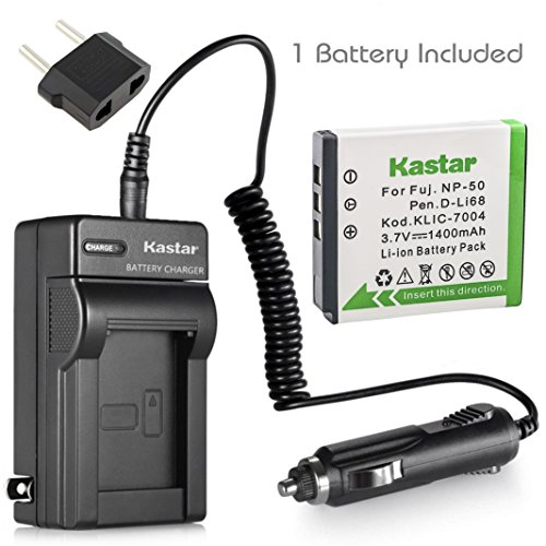 Klic 7004 Replacement Battery (Kastar Battery (1-Pack) and Charger Kit for Fujifilm NP-50, Kodak KLIC-7004, Pentax D-Li68 work with Fujifilm FinePix F50FD,F60FD,F70EXR,F75EXR,F80EXR,F85EXR,F100FD,F200EXR,F300EXR,F305EXR,F500EXR,F505EXR,F550EXR,F600EXR,F605EXR,F660EXR,F665EXR,F750EXR,F770EXR,F775EXR,F800EXR,F850EXR,F900EXR,REAL 3D W3,X10,X20,XF1,XP100,XP110,XP150,XP160,XP170,XP200,BC-50,BC-45W and Kodak EasyShare M1033,M1093,M2008,PlayFull Dual,PlaySport,PlayTouch,V1073,V1273,V1233,V1253,Zi8,Zx3,Zi12 Cameras)
