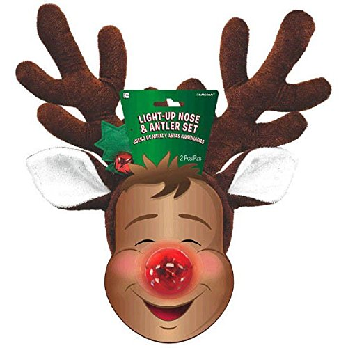 Amscan Fun-Filled Christmas & Holiday Party Reindeer Nose & Antler Kit , Red/Brown, Pack of 2 Costume for $<!--$9.51-->