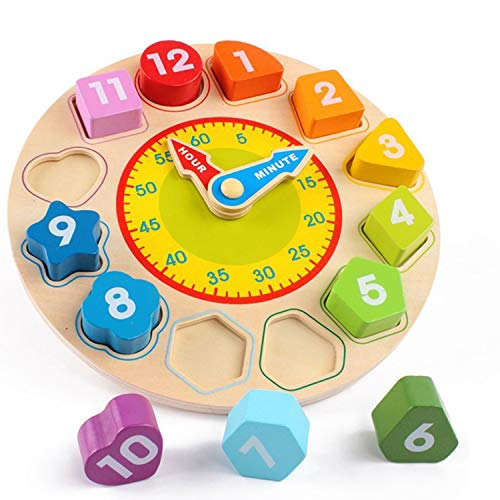Puzzle Clock Hands - Joqutoys Wooden Shape Sorting Clock Puzzle Teaching Time Number Blocks Educational Toy for Kids