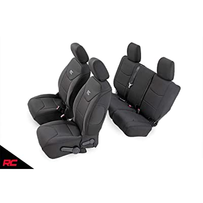 Rough Country 91003 Neoprene Seat Covers (fits) 2011-2012 4DR Jeep Wrangler JK | Water Resistant | 1st/2nd Row: Rough Country: Automotive