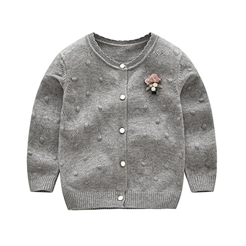 Baby Little Girls Kids Cable Knit Bowknot Love Heart Front Button Cardigan Sweater 2T by REWANGOING (Image #2)