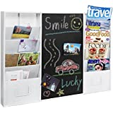 Modern Wall Mounted White Metal Memo Message Chalkboard / 10 Slot Document Organizer & Mail Sorter Rack