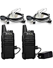 Retevis RT22 Two Way Radio 16 CH VOX Walkie Talkies(2 Pack) and Covert Air Acoustic Earpiece (2 Pack)