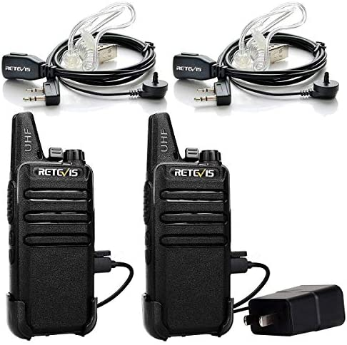 Retevis RT22 Two Way Radio UHF 16 CH VOX Walkie Talkies with Covert Air Acoustic Earpiece 2 Pack