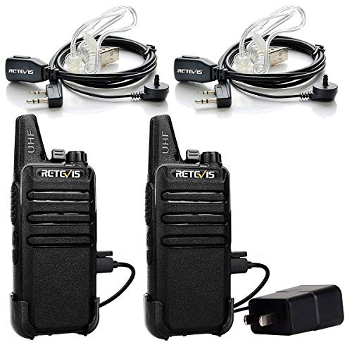 Retevis RT22 Two Way Radio UHF 16 CH VOX Walkie Talkies with Covert Air Acoustic Earpiece (2 Pack) (Retevis 4 Pack Walkie Talkie)