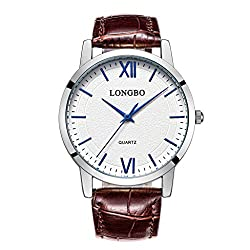 LONGBO Casual Men's Brown Croco Leather Band Analog Quartz Roman Numral Business Watch Sliver Case Couple Dress Watch Waterproof Blue Hand White Dial Wristwatch For Man