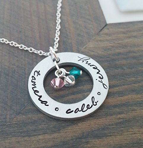 Personalized Animal Cute Elephant Pendant Necklace With Birthstone Custom Made Any Name For Family Kids