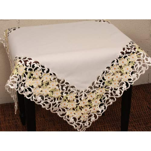 (OKSLO Spring garden embroidered cutwork table topper)