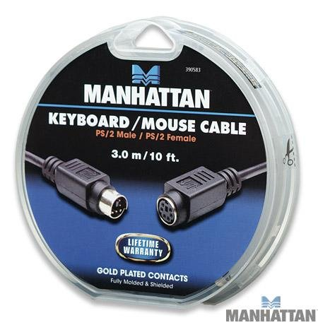 Manhattan 10 feet PS/2 Keyboard / Mouse Extension Cable. Mini-Din-6 Male to Female by Manhattan