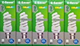 Pack of 5, E-Saver CFL Full Spiral, 9w = 50 watt, Cool White 4200k, Compact Fluorescent Lamp, Bayonet Cap (BC, B22, B22d) 440 Lumen, T2, 80%-85% Energy Saving Light Bulb, Flicker Free, 10,000 Hours Life Time
