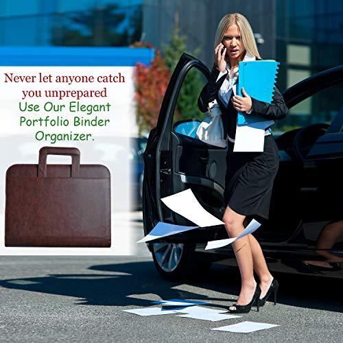 Premium Portfolio Binder Organizer - Vegan Leather Zippered Closure Padfolio Briefcase File Folder + Adjustable Smartphone/Tablet Stand (Brown) by Ofir Sales (Image #8)