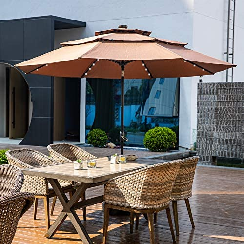 Klismos 10FT 3 Tiers Patio Umbrella with Lights Windproof Outdoor Market Umbrella Large Waterproof Table Umbrella with Tilt and Crank Coffee