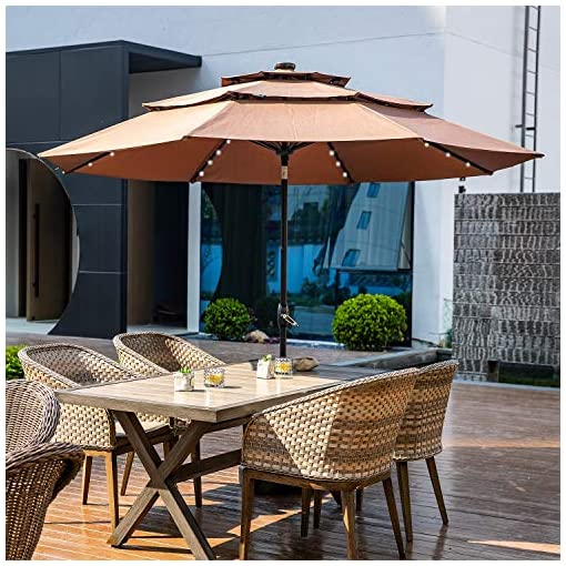 Garden and Outdoor 10FT 3 Tiers Patio Umbrella with Lights Windproof Outdoor Market Umbrella Large Waterproof Table Umbrella with Tilt and… patio umbrellas