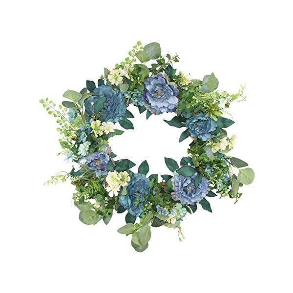 Clssical Artificial Peony Flowers Garland Summer Door Wreath 16-inch