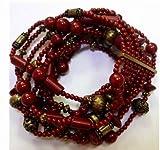 rv 53 - Premier Designs Jewelry Impulse Antiqued Matte Brass Plated Strethc Bracelet RV$53