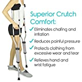 Crutch Pads by Vive (2 Armpit, 2 Hand Cushion) - Padding for Walking Crutches - Underarm & Handle Pillow Covers for Hand & Armpit - Soft & Comfortable Mobility Accessories (Black)
