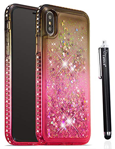 - for iPhone Xs Case iPhone X Case,Cattech Glitter Liquid Floating Flowing Sparkle Flexible TPU Bling Diamond Slim Clear Soft TPU Cover Protective for Apple iPhone Xs/X 5.8 inch + Stylus (Gray/Pink)