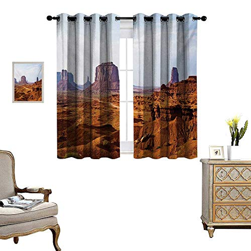 Desert Window Curtain Fabric Monument Valley View from John Fords Point Merritt Butte Sandstone Image Drapes for Living Room W63 x L45 Baby Blue Mauve - Sandstone Antique Pearl Pearl