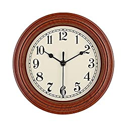 Foxtop Silent Non-Ticking Minimalist Kitchen Wall Clock Digital Quiet Sweep 9-Inches Home Decor Round Vintage Wall Clock Battery Operated (Brown)
