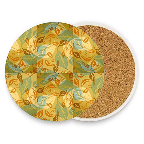 Abundance Of Leaves Screen Printed Design Coasters for Drinks Absorbent Round Ceramic Stone Drink Coaster with Cork Backing,1 Pack