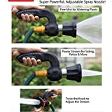 Garden Hose Nozzle Hand Sprayer - Heavy Duty 10 Pattern Watering Nozzle - High Pressure - Pistol Grip Front Trigger -Suitable for Car Wash, Cleaning, Watering Lawn and Garden - Like Fireman's Nozzle