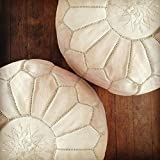 Set of 2 Beautiful Handmade Moroccan poufs Real Natural Leather Ottomans poof Footstool Pouf from Morocco | Colors Ivory White 100% handmade | Delivered unstuffed.