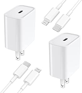 [Apple MFi Certified] iPhone Fast Charger, Veetone 2 Pack 20W USB C Power Delivery Wall Charger Plug with 6FT Type C to Lightning Quick Charge Sync Cable for iPhone 12/11/XS/XR/X 8/SE/iPad/AirPods Pro