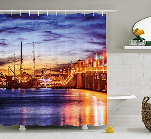Ambesonne United States Shower Curtain, St. Augustine Florida Famous Bridge of Lions Dreamy Sunset Majestic, Cloth Fabric Bathroom Decor Set with Hooks, 75