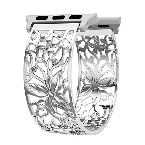Apple Watch Band 38mm Women Silver, Adjustable Butterfly Relief Hollow Replacement Strap with Bling Rhinestones, Feminine Jewelry Wristbands for Apple Watch Series 3/2/1, Sport and Nike+ (Band Bezel Wrist Watch)