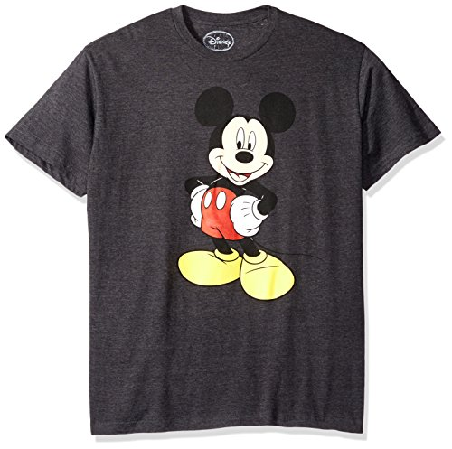 Disney Shirts For Adults (Disney Men's Mickey Wash Short Sleeve T-Shirt, Charcoal Heather, Medium)