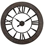 Cheap Rustic Round Iron Bronze Wood Wall Clock | Large Open Design Distressed