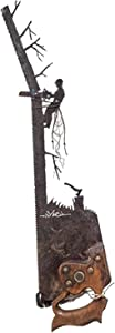 Father's Day Unique Gift Metal Art Tree - Wall Decor, Vintage Cabinets Hand Cut Plasma Torch Design Rustic Look Hanging Ornament Old Saw for Living Room, Bedroom, Office Desktop (D)